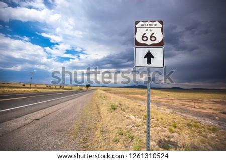 Route 66 Road and Sign near Flagstaff, Arizona, USA