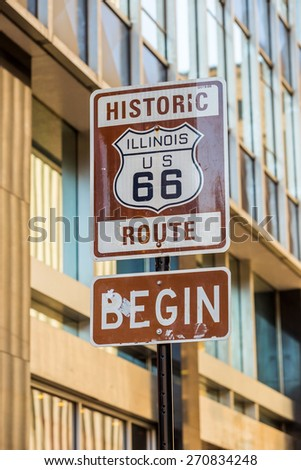 Route 66 sign, the beginning of historic Route 66, leading through Chicago, Illinois. #270834248