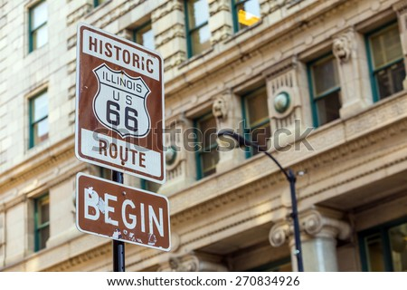 Route 66 sign, the beginning of historic Route 66, leading through Chicago, Illinois. #270834926