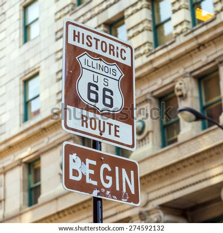 Route 66 sign, the beginning of historic Route 66, leading through Chicago, Illinois. #274592132