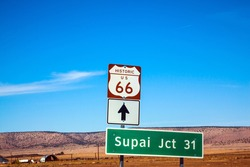 Route 66. U.S. America's Main Street. First Highway in US Numbered System Historic Motorway 66.  Great car trip across America. The concept of automobile, active and photo tourism