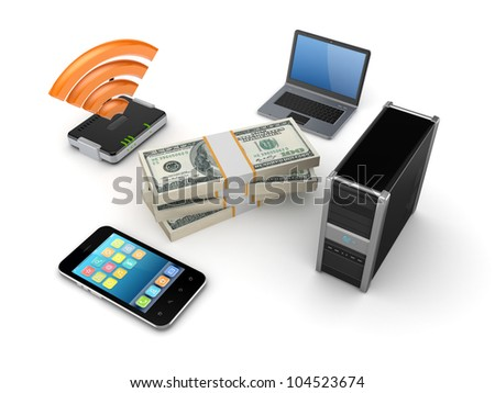 Router,notebook,PC and mobile phone around dollars pack.Isolated on white background.3d rendered.