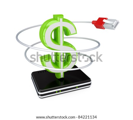 Router, patchcord and green dollar sign. 3d rendered. Isolated on white background.