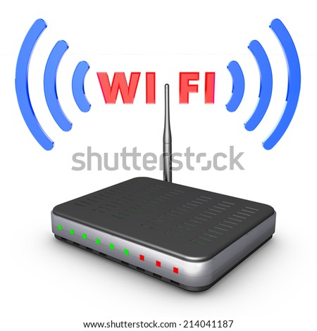 router, WIFI inscription around the antenna and the signal
