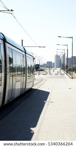 Routes and trams in Sant Adria del Besos, Barcelona, Catalunya, Spain #1340366264