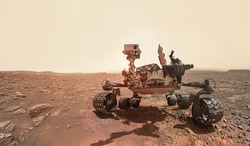 Rover on Mars surface. Exploration of red planet. Space station expedition. Perseverance. Expedition of Curiosity. Elements of this image furnished by NASA
