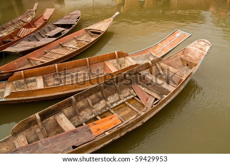Row boat . Boat wood old fashioned in Thailand.