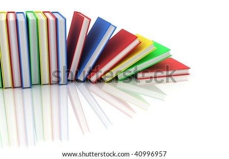 row books in different colour (done in 3d)