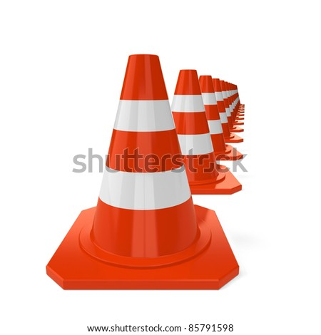 Row from orange traffic cones isolated on a white background