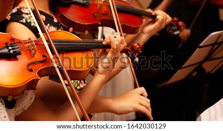 Row, group of anonymous violin players, children, people playing, bows in hands, stands in front, closeup. Classical music concert simple performance kids orchestra string section / quartet performing Stockfoto ©