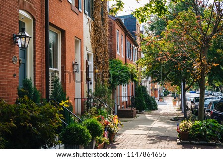 Row houses in Federal Hill Baltimore, Maryland