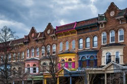 Row houses on Calvert Street in Charles Village, Baltimore, Maryland.