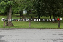 Row of American outdoor Mailboxes, a horizontal picture