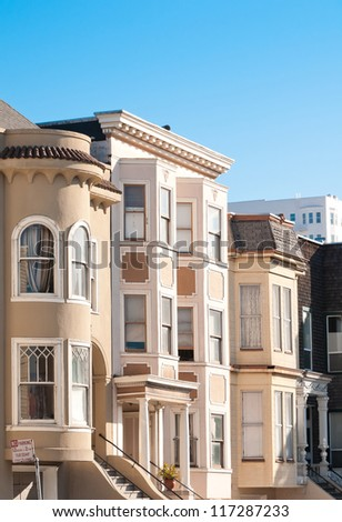 Row of apartment buildings in San Francisco, california, USA