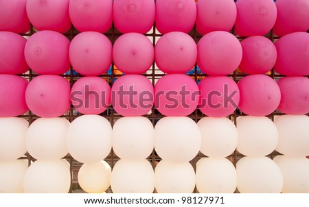 row of balloons.