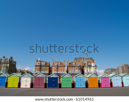 Row of beach huts of Hove, Brighton, UK.