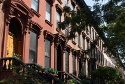Row of Beautiful Old Brownstone Homes in Prospect Heights Brooklyn of New York City