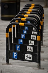 Row of bicycle stands in London, UK