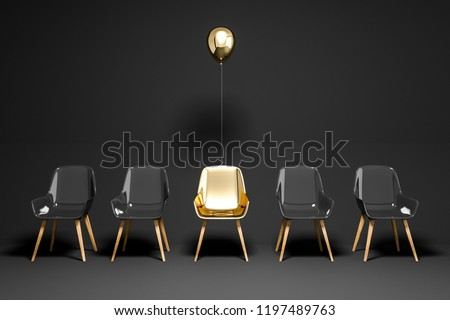 Row of black chairs with a gold chair and a balloon above it. Concept of choice and being unique. 3d rendering copy space Foto stock ©