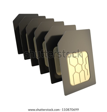 Row of black SIM cards with circuit microchips isolated on white