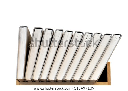 Row of books on shelf isolated on white