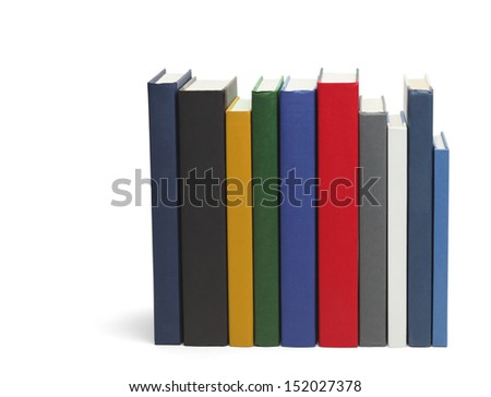 Row of Books With Copy Space Isolated on White Background.