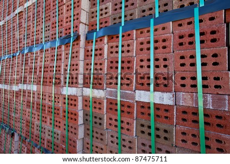 Row of bricks in a brickyard in Martinsburg, WV