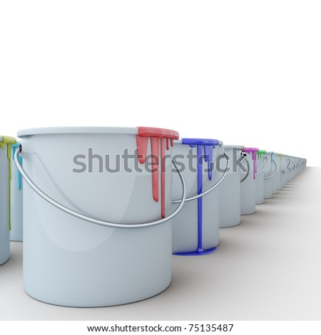 row of buckets with paints - stock photo