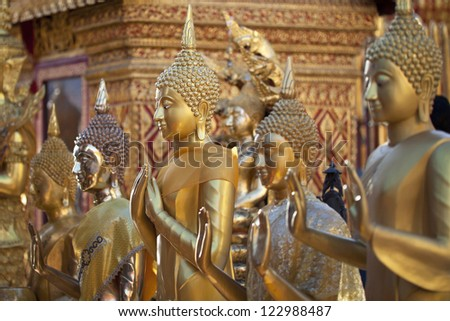 Row of Buddhas in Wat Phrathat Doi Suthep, Chiang Mai
