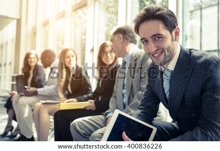 Row of business people waiting for an interview. Concept about business and professions