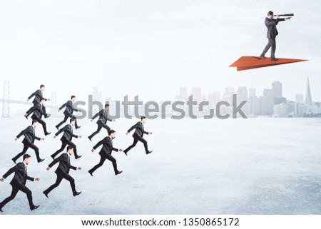 Row of businessmen following person on red paper plane on blurry city background. Future and leadership concept  #1350865172