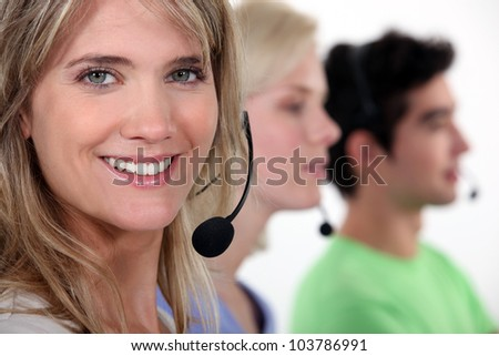 Row of call-center workers