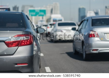 row of car with traffic jam on express way