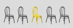 Row of chairs. Gray and yellow chairs. We are hiring concept. Web site wide banner.
