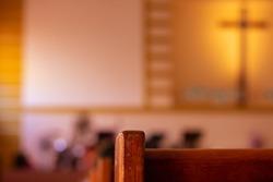 Row of Church Pews in a Church, close up.