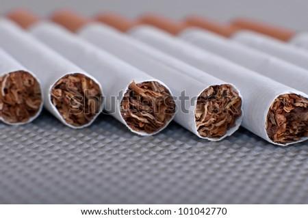 Row of Cigaretettes, shallow dof, close-up