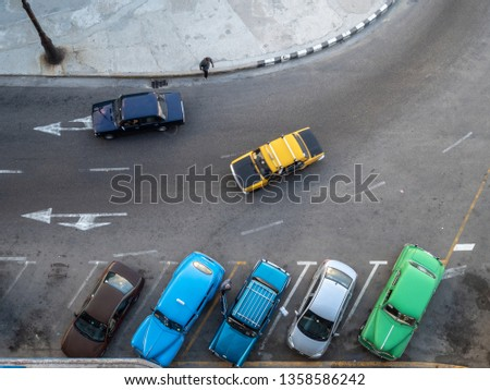 Row of classic cars from above in Havana, Cuba