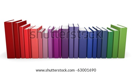 Row of color coordinated books. 3D render.