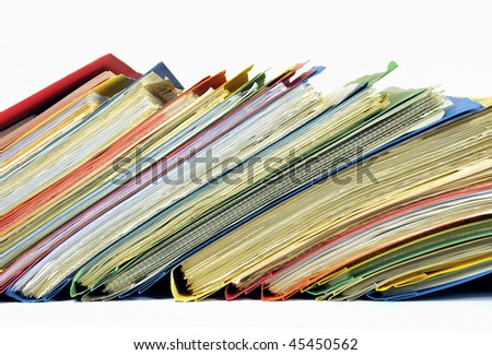 Row of colored folders with documents isolated on white