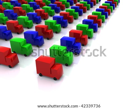 row of colored RGB cars. 3d