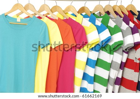 Shutterstock Row of colored Tee Shirts display