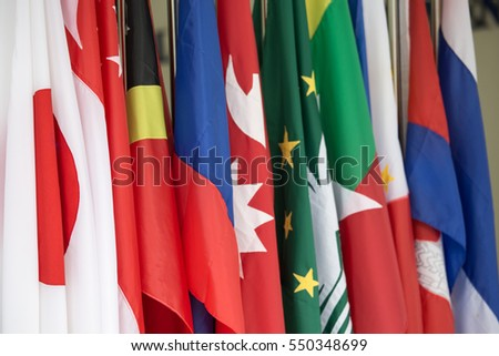row of colorful Asia Pacific and southeast asia International Flag #550348699