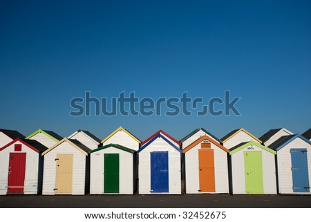 row of colorful beach hut - landscape orientation