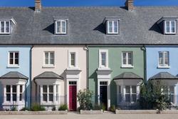 Row of colorful english houses