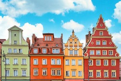 Row of colorful historical tenement houses at Old Market Square, the Old Town in Wroclaw, Lower Silesia, Poland