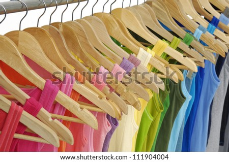 row of colorful shirt rack