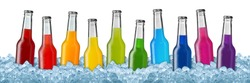 row of colorful soft drinks on ice