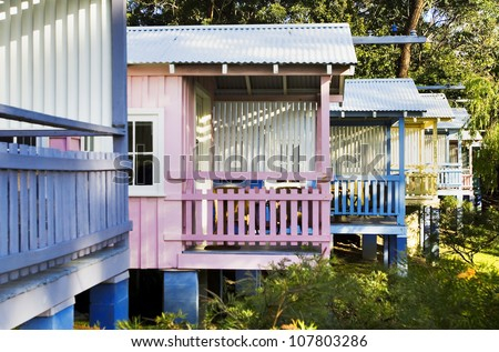 Row of Colourful Holiday Beach Houses