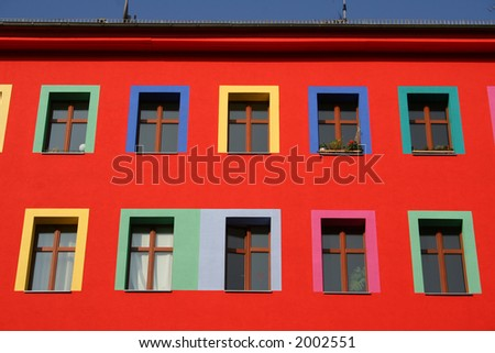 row of colourful windows