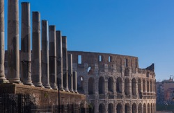 Row of colums and Collosseum